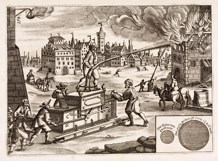 Manual fire engine, Germany, 1662.