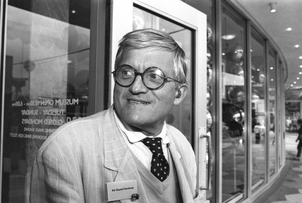 David Hockney at the NMPFT, Bradford, 1993.