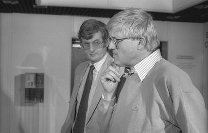 David Hockney and Colin Ford at the NMPFT, Bradford, July 1985.