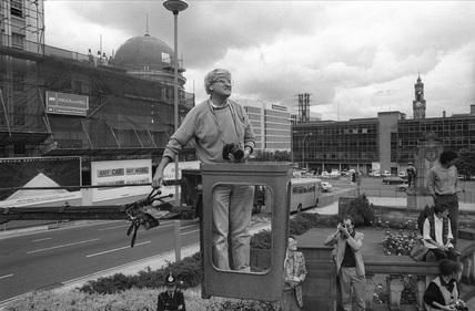 David Hockney photographing the NMPFT, Bradford, 18 July 1985.