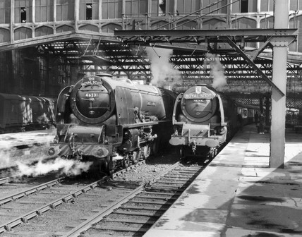 Steam locomotives at Carlisle Citadel Station, c mid 1950s.