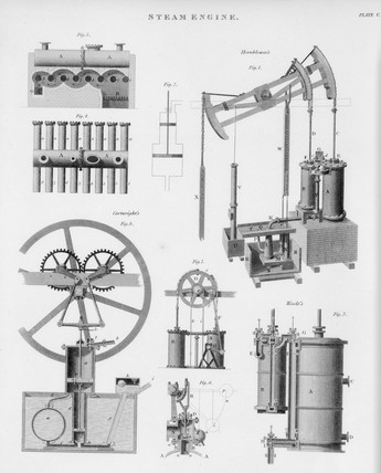 Steam engines by Cartwight, Woolf, and Hornblower, c 18th century.