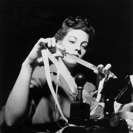 Woman worker, Western Union telegraph office, Washington DC, 1943.