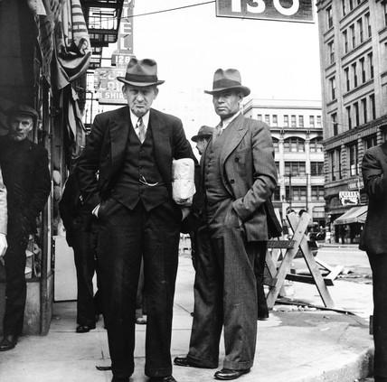 Men watching the Salvation Army, San Francisco, California, USA, April 1939.