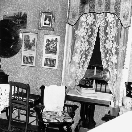 'Edison victrola' in a farm house, Vermont, USA, July 1940.
