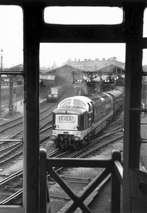 Class 55 'Deltic' diesel locomotive, Leeds Central Station, c early 1960s.