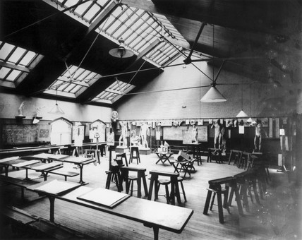 An empty art room at Crewe Mechanics' Institute, Cheshire, 17 July 1907.