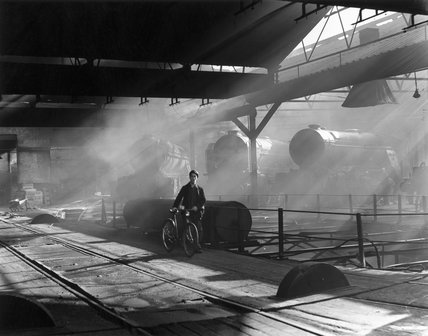 A railwayman on a turntable, York, early 1950s.