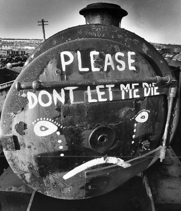 Steam locomotive scrapyard, Barry Docks, South Wales, January 1981.