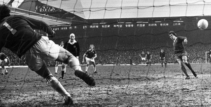 Phil Neal scores for Liverpool, 5 February 1977.