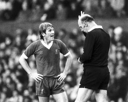 Kenny Dalglish is booked, 8 November 1981.