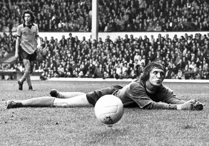 Gary Pierce saves a Liverpool goal, 6 October 1975.