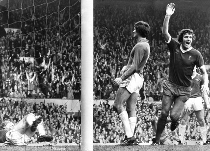 John Toshack scores for Liverpool, 16 October 1976.