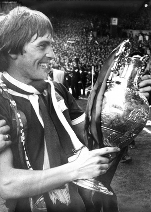 Kenny Dalglish with the League Championship trophy, 4 May 1980.