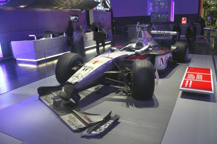 Mika Hakkinen's crashed Formula One racing car, Science Museum, 2007.