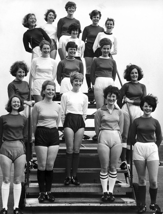 BEA stewardesses in World Cup strips, April 1966.