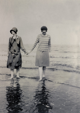 Two young women on beach, Filey, Yorkshire, May 1928.