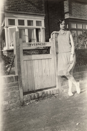 Woman outside the 'Inverness' B&B, Broadstairs, Kent, c 1920s.