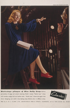 Sally Gray advertising Clarks shoes, Second World War, 1940s.