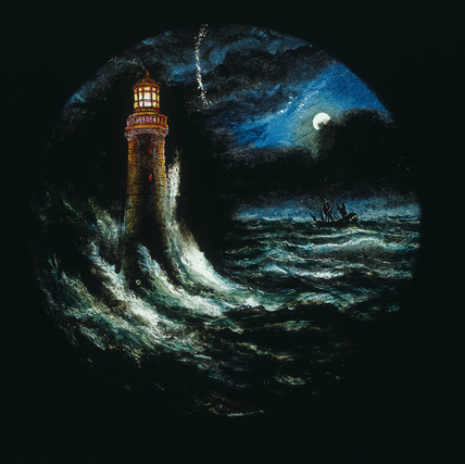 Eddystone Lighthouse, hand-coloured magic lantern slide, 19th century.