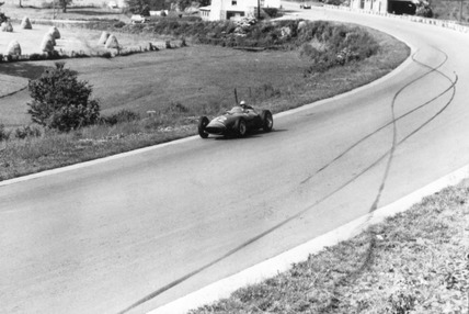 Skidmarks where Stirling Moss had a motor racing accident, 18 June 1960.