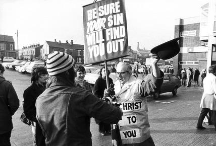 Christian objecting to football on Sundays, Bolton, January 1974.