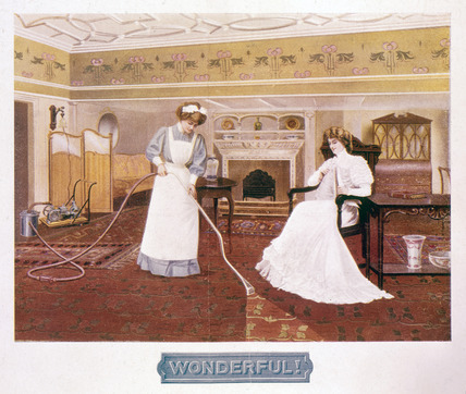 Poster promoting the wonders of a vacuum cleaner, c late 19th century.
