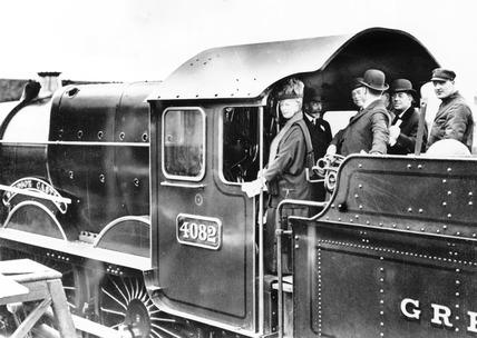 King George V driving a steam locomotive, Swindon, 28 April 1924.