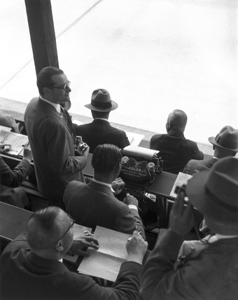 Press stand, AVUS race track, Berlin, 1932-1933.