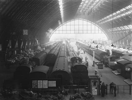 Inside St Pancras Station, London, 1947.