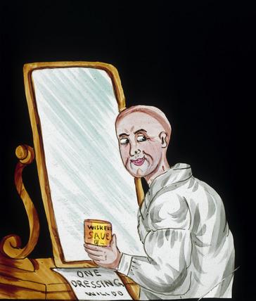 A bald man applying hair restorer, magic lantern slide, 19th century.