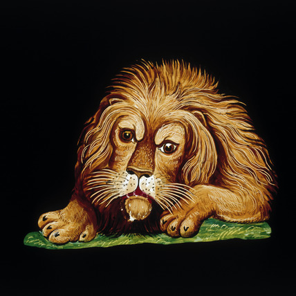 Lion, hand-coloured magic lantern slide, 19th century.