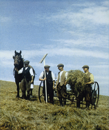 Farm workers with horse and agricultural machinery.