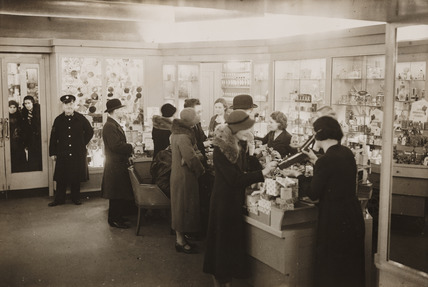Interior of Boots the Chemist, Regent Street, London, 8 December 1932.