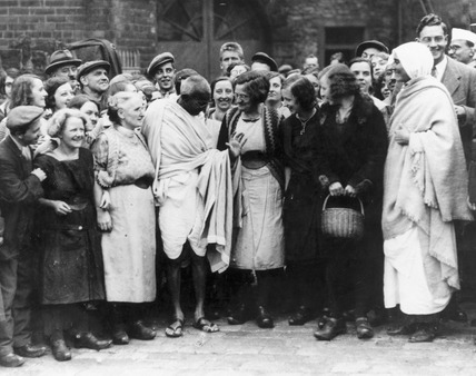 Mahatma Gandhi on an official tour, England, 1931.