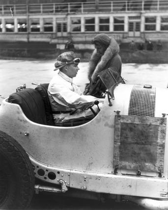 Rudolf Caracciola in his Mercedes-Benz racing car, Nurburgring, Germany, 1931.