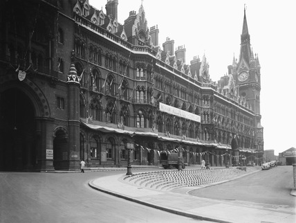 Olympic Games decorations at St Pancras Station, London, 1948.