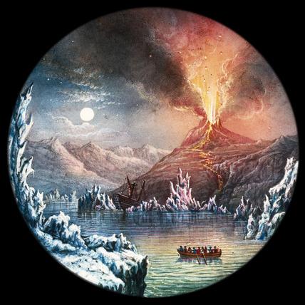 Hekla Volcano, Iceland, hand-coloured magic lantern slide, 19th century.