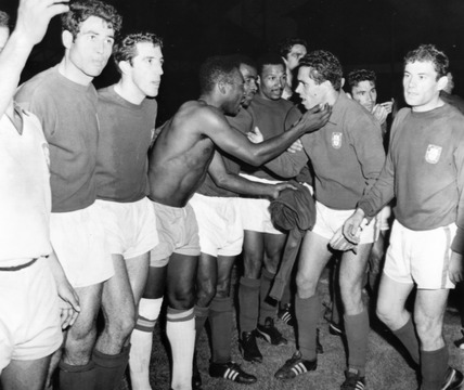 Pele congratulates a Portuguese player, World Cup, Anfield, 19 July 1966.