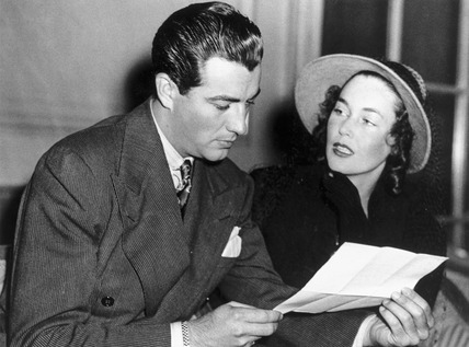 Robert Taylor and Maureen O'Sullivan, American actors, 1937.