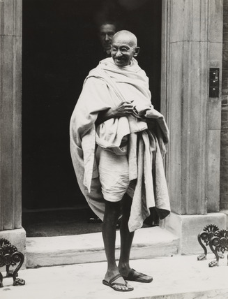 Mahatma Gandhi on the steps of 10 Downing Street, 1931.