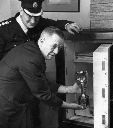 The World Cup trophy being locked in a safe, 28 March 1966.