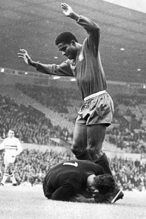 Hungarian keeper saves from Eusebio, World Cup, Old Trafford, 13 July 1966.