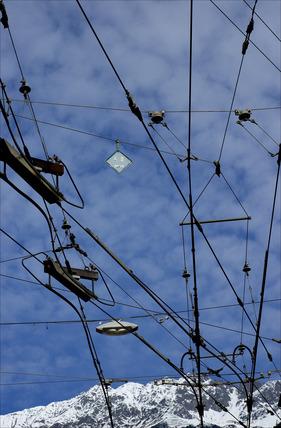 Power lines above tram track, Innsbruck, Austria, 2007.