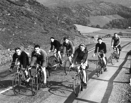 Cycling during petrol rationing, Derbyshire, WWII, October 1939.
