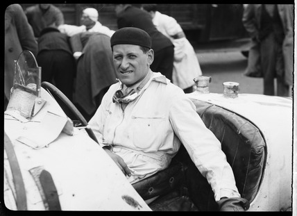 Laszlo Hartmann at wheel of Bugatti Type 51 racing car, Berlin, 1932.