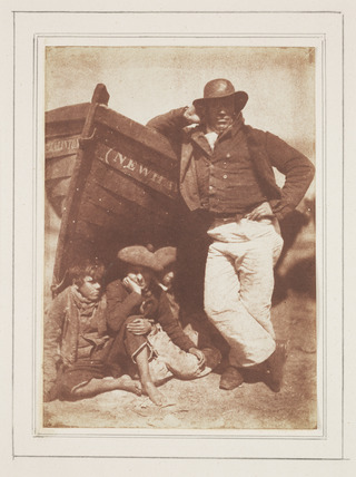 James (Sandy) Linton with his sons and his boat, Newhaven, Scotland, c 1844.