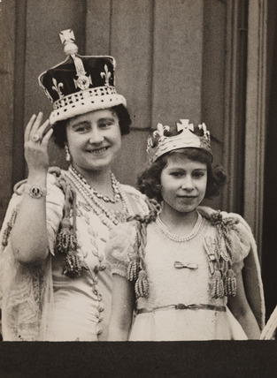 The Queen and Princess Elizabeth after the Coronation of George VI, 1937.