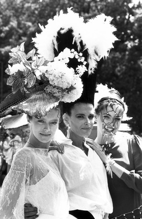 'Egyptian' hair fashions, Royal Ascot, Berkshire, June 1983.