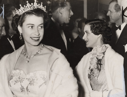 Queen Elizabeth at the opening of the Italian Film Festival, 1954.